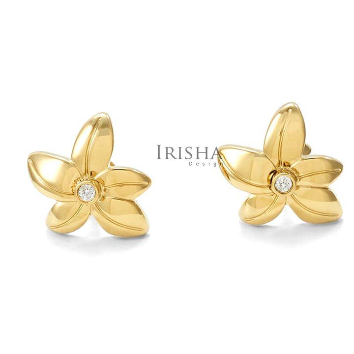 10 mm Shiny Floral Studs Earrings VS Clarity Genuine Diamond 14KGold Jewelry