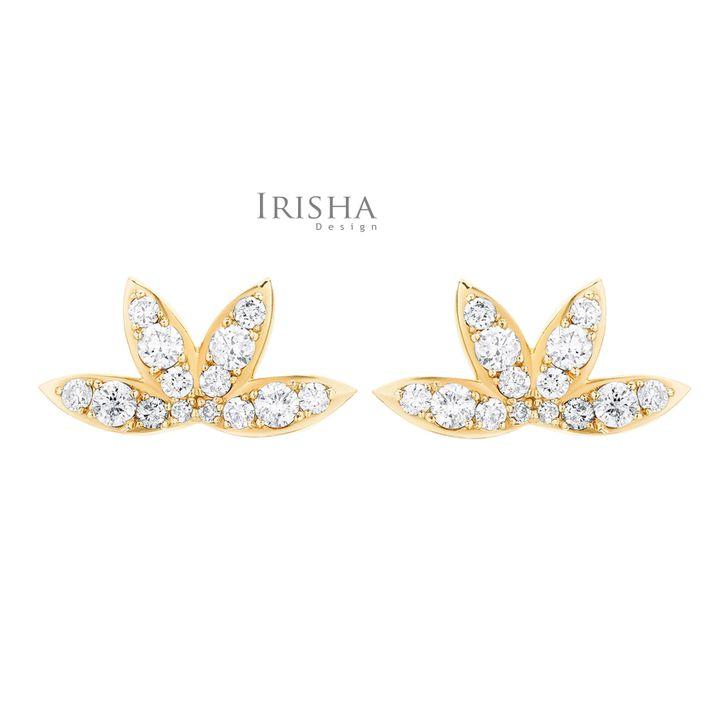 VS Clarity Genuine Diamond Leaf Floral Design Studs Earrings 14K Gold Fine Jewelry