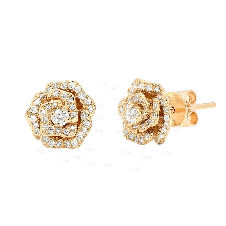 14K Gold 0.60 Ct. Genuine Diamond Rose Flower Studs Earrings Gift For Her