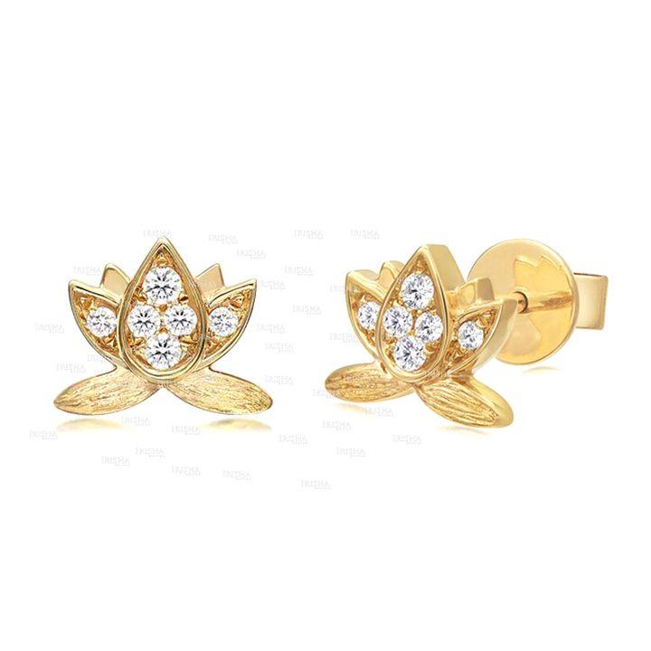 14K Gold 0.16 Ct. Genuine Diamond Lotus Flower Mini Studs Earrings Fine Jewelry