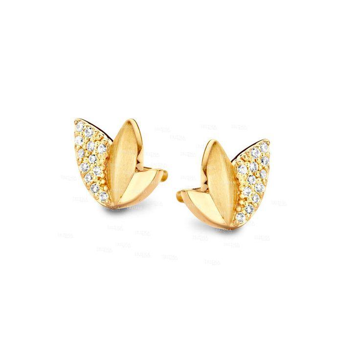 14K Gold 0.16 Ct. Genuine Diamond Lotus Flower Tiny Studs Earrings Fine Jewelry