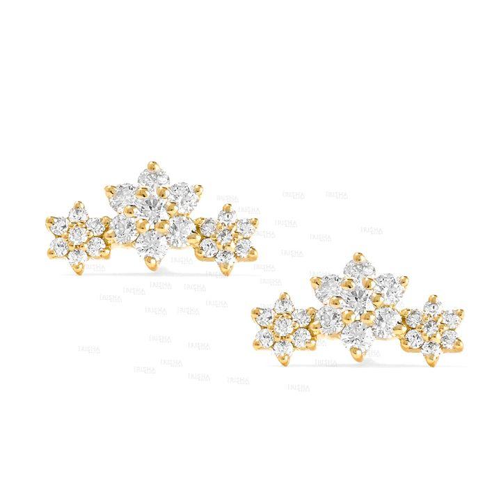14K Gold 0.70 Ct. Genuine Diamond Three Flower Design Wedding Studs Earrings