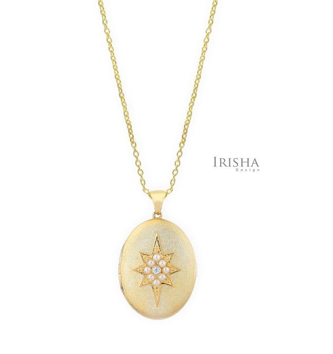 Genuine Diamond And Freshwater Pearl Starburst 14K Gold Pendant Necklace