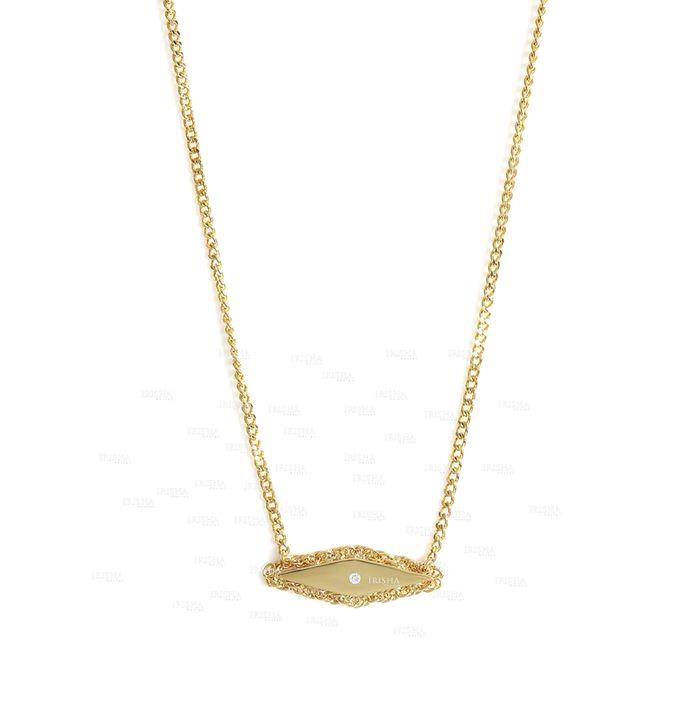 14K Gold 0.02 Ct. Genuine Diamond Rhombus Shape Vintage Style Pendant Necklace