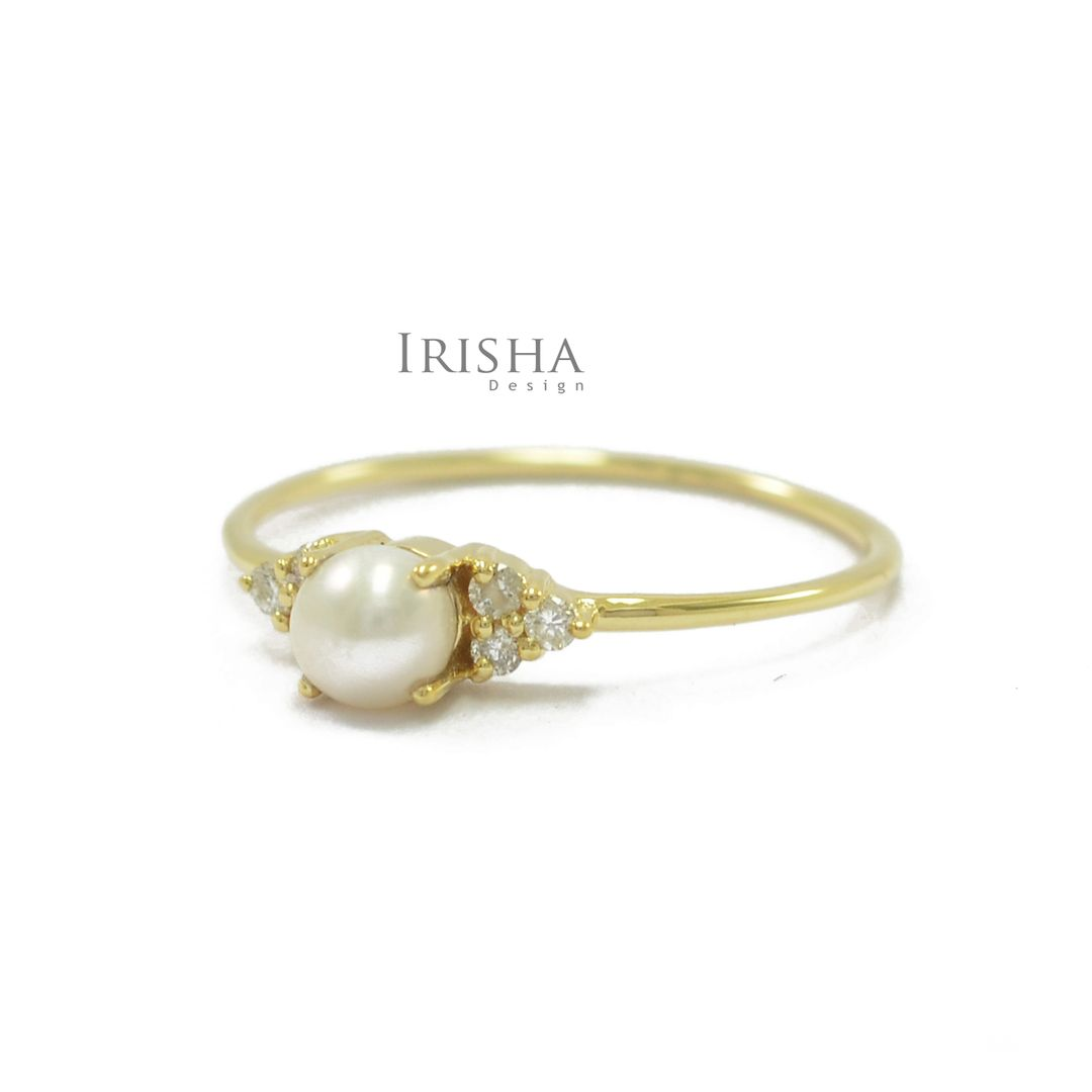 14K Gold Genuine Diamond And Fresh Water Pearl Ring Fine Jewelry Size- 3 to 8 US