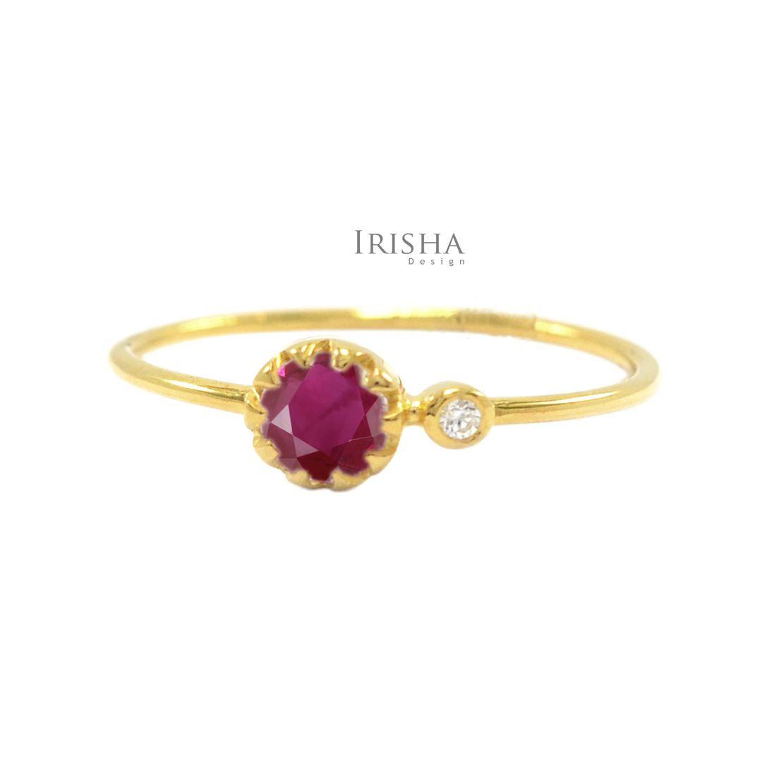 14K Gold Genuine Diamond And Ruby Gemstone Ring Fine Jewelry Size -3 to 8 US