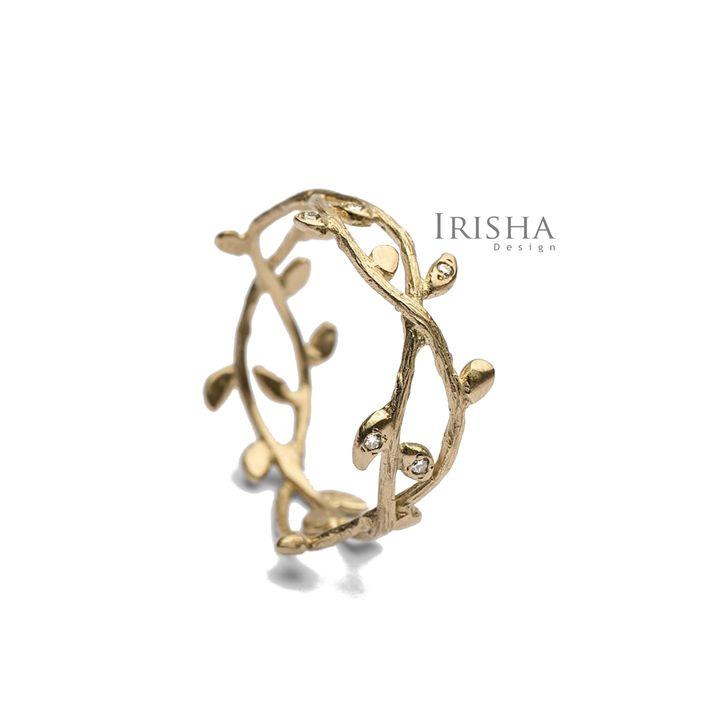 14K Gold 0.09 Ct. Genuine Diamond Leaf Design Unique Handmade Ring Fine Jewelry