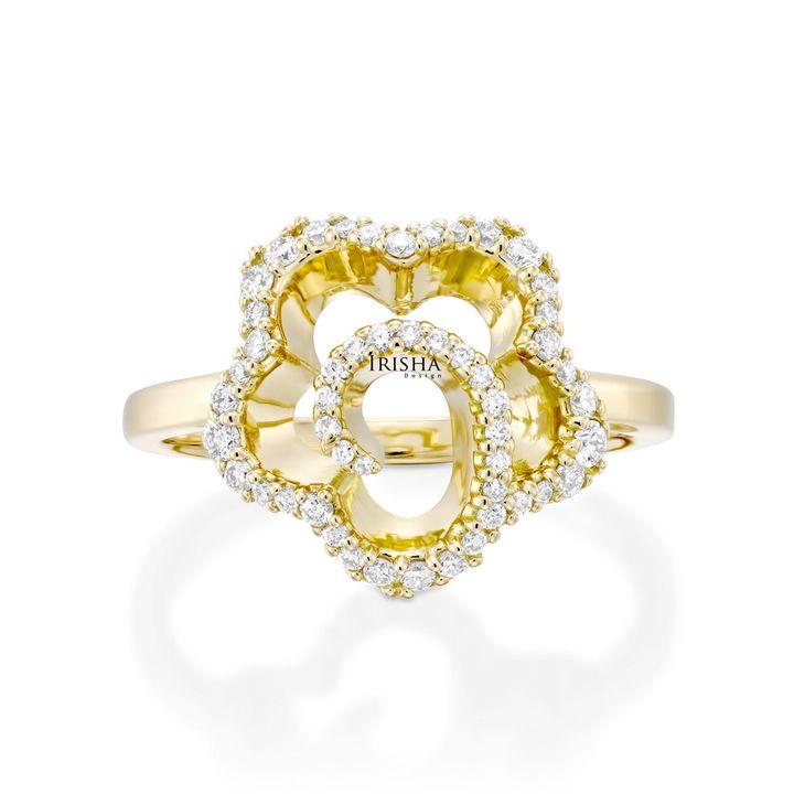 14K Gold Genuine VS Clarity Diamond Antique Flower Design Ring Fine Jewelry