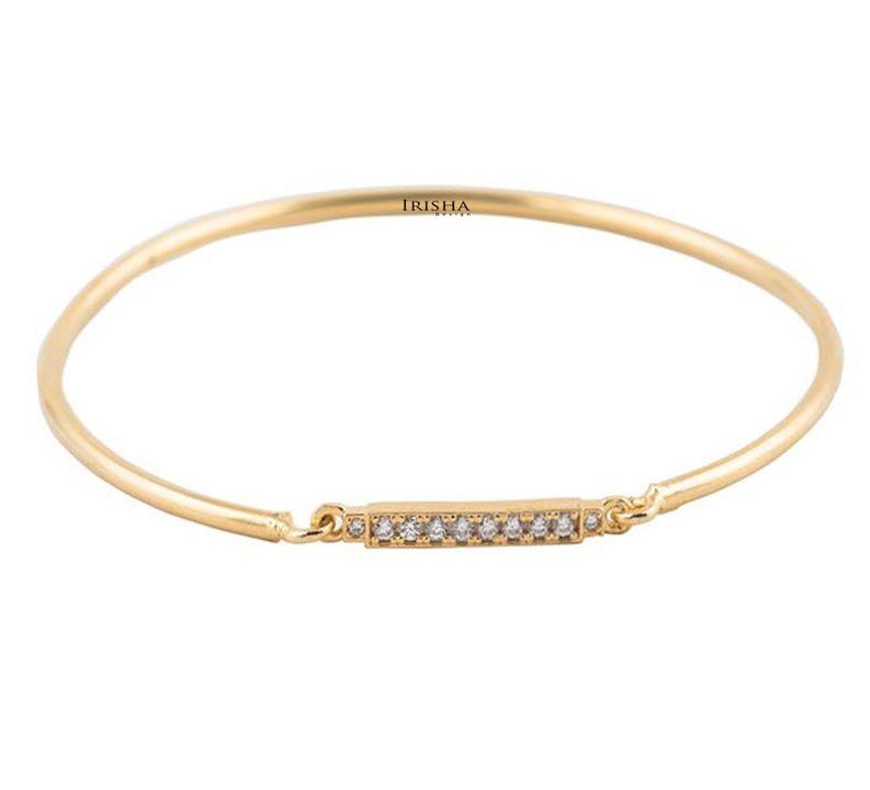 14K Solid Gold 0.14 Ct. Genuine Diamond Handmade Bangle Bracelet Fine Jewelry