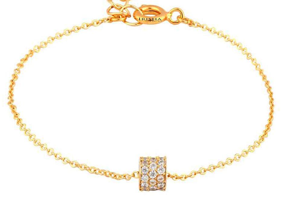 14K Gold 0.32 Ct. Genuine Diamond Cylinderical Charm Bracelet Fine Jewelry