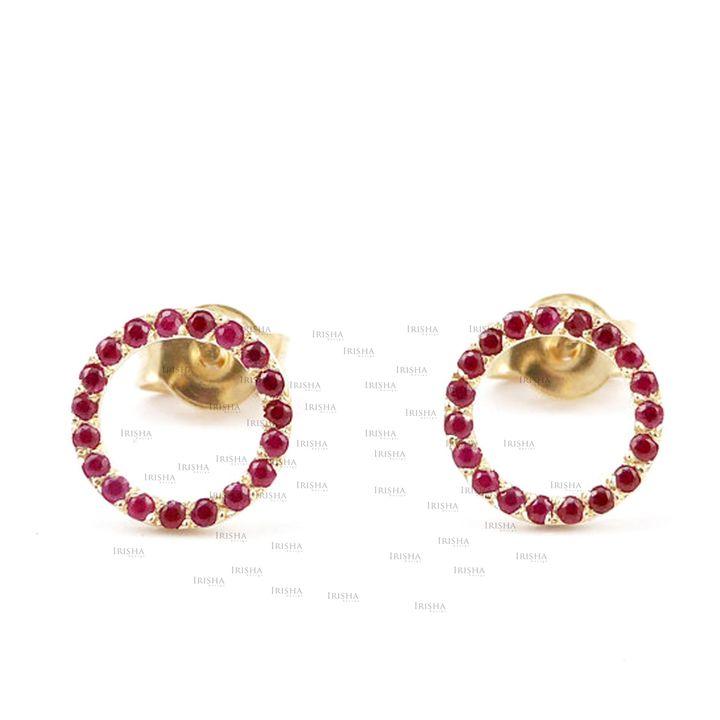 14K Gold 0.45 Ct. Genuine Ruby Gemstone Circle Studs Earrings Valentine's Gift