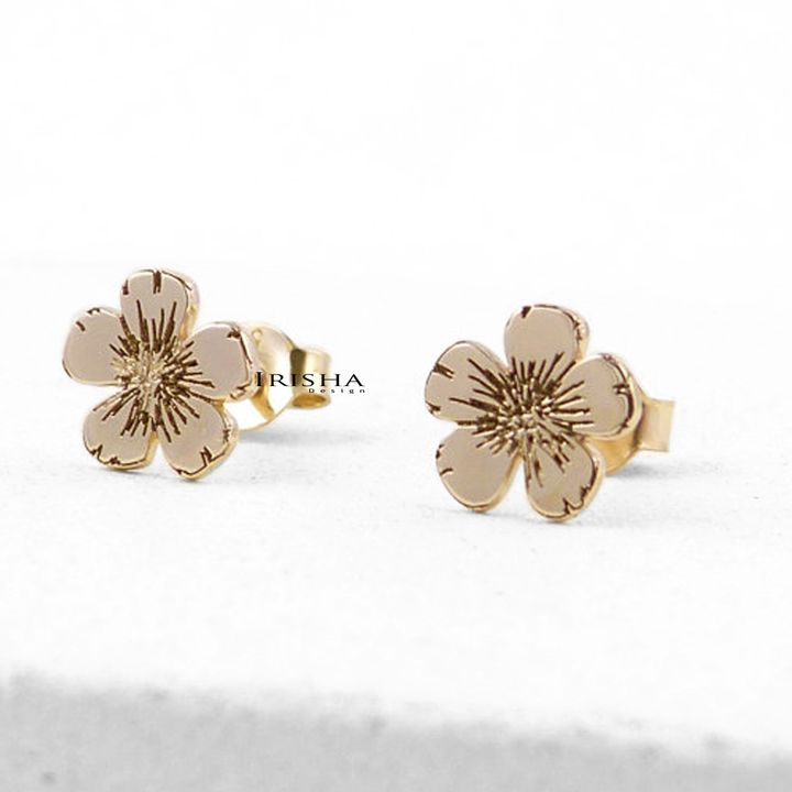 14K Solid Gold Minimalist Floral Style Studs Earrings Gift For Her Fine Jewelry