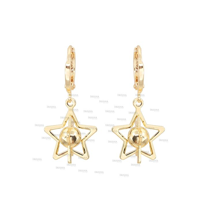 14K Solid Gold Galaxy Star Hoop Earrings Fine Jewelry Gift For Her