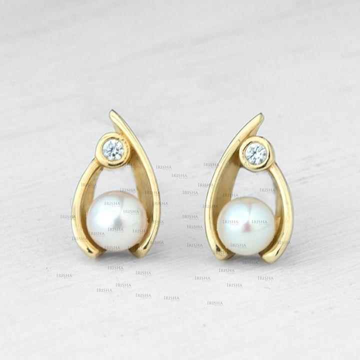 14K Gold Genuine Diamond And Freshwater Pearl Tear Shape Studs Earrings Jewelry