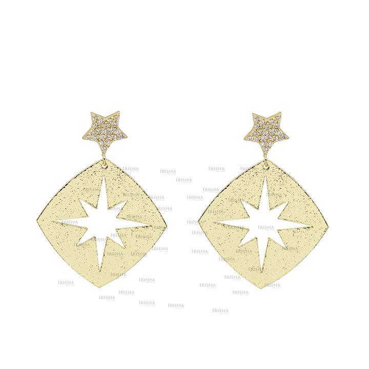 14K Gold 0.27 Ct. Genuine Diamond Star Starburst Drop Earrings Gift For Her