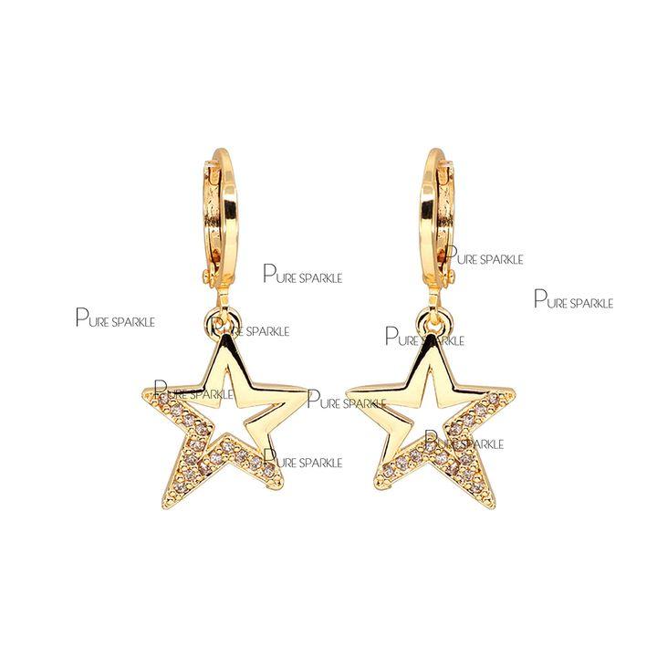 14K Gold 0.12 Ct. Genuine Diamond Star Hoop Earrings Fine Jewelry Gift For Her