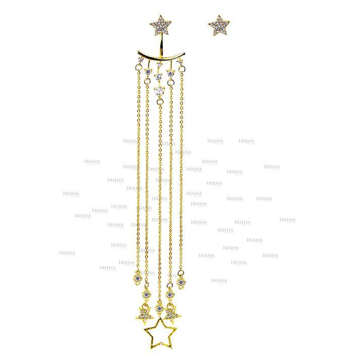 14K Gold 1.20 Ct. Genuine Diamond Star Charms Long Drop Chain Jacket Earrings