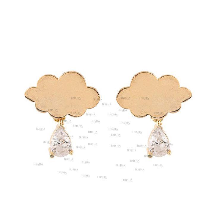 14K Gold Genuine VS Clarity Pear Cut Diamond Cloud Shape Studs Earrings Jewelry