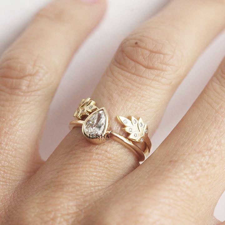 14K Gold 0.10 Ct. Genuine Diamond Vine Leaf Open Ring Handmade Fine Jewelry