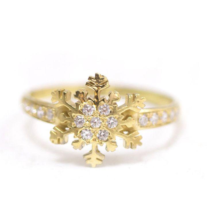 14K Gold 0.18 Ct. Genuine Diamond Snowflake Design Wedding Ring Fine Jewelry