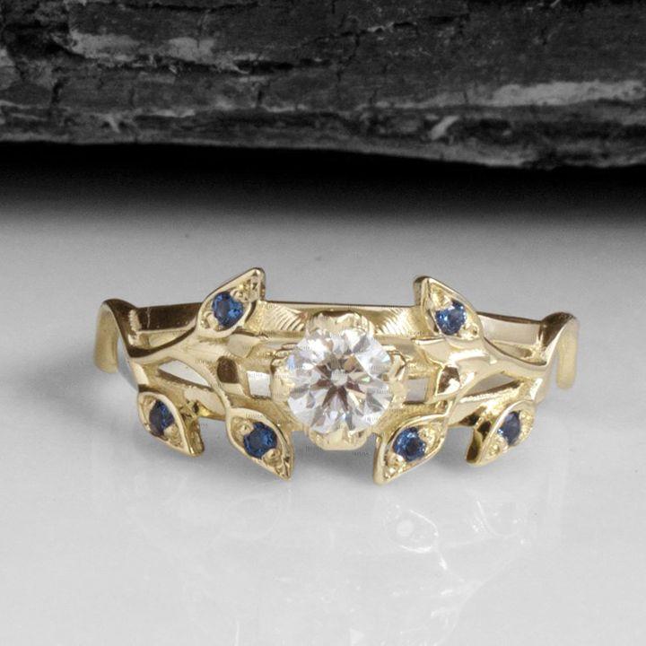 14K Gold Genuine Diamond-Blue Sapphire Gemstone Leaf Motif Ring Fine Jewelry