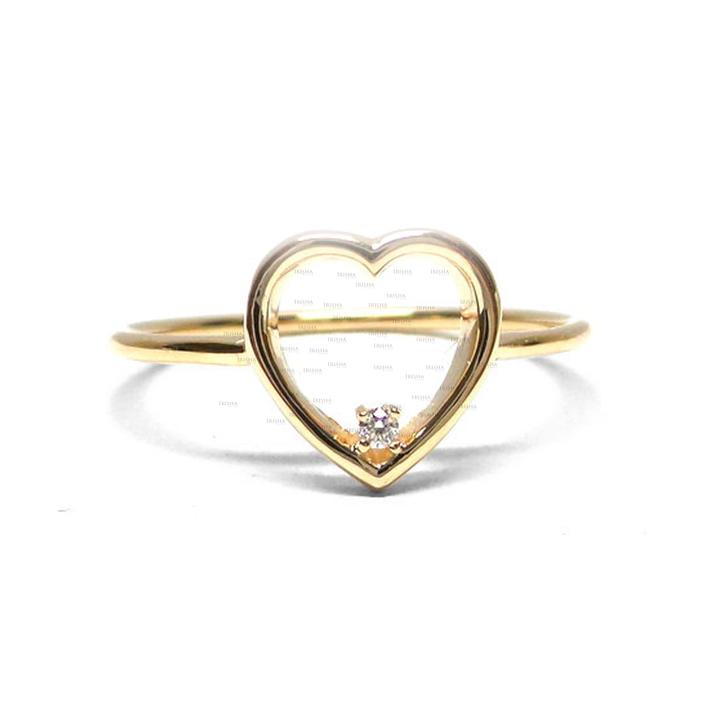 14K Gold 0.02 Ct. Genuine Diamond Love Heart Ring Valentine's Gift For Her