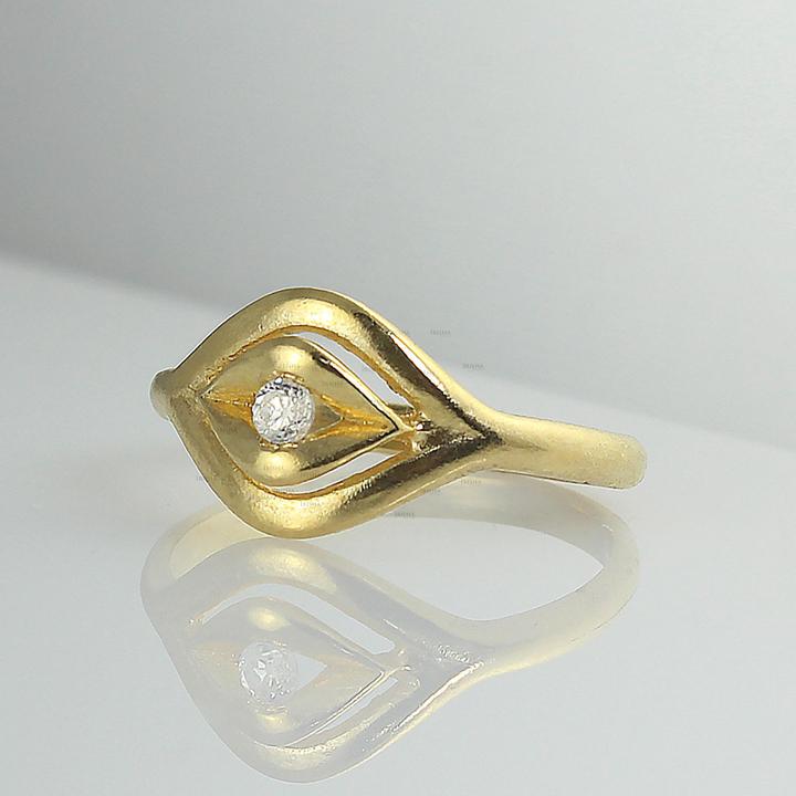 14K Gold 0.02 Ct. Genuine Diamond Evil Eye Design Delicate Ring Fine Jewelry