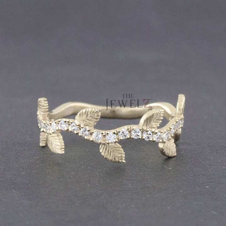 14K Gold 0.35 Ct. Genuine Diamond Leaf Design Eternity Band Ring Fine Jewelry