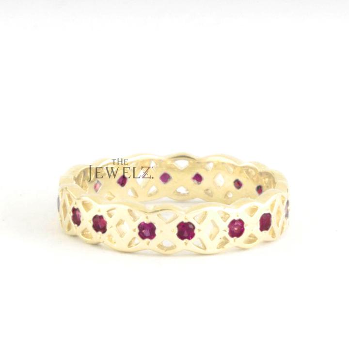 14K Gold 0.25Ct. Genuine Ruby Gemstone Art Deco Crown Eternity Ring Fine Jewelry