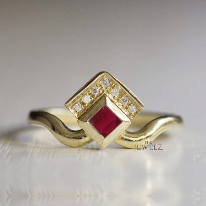 14K Gold Genuine Diamond-Ruby Gemstone Engagement Crown Ring Fine Jewelry
