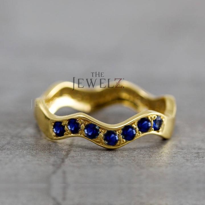 14K Gold 0.30 Ct. Genuine Blue Sapphire Gemstone Wave Design Valentine's Ring