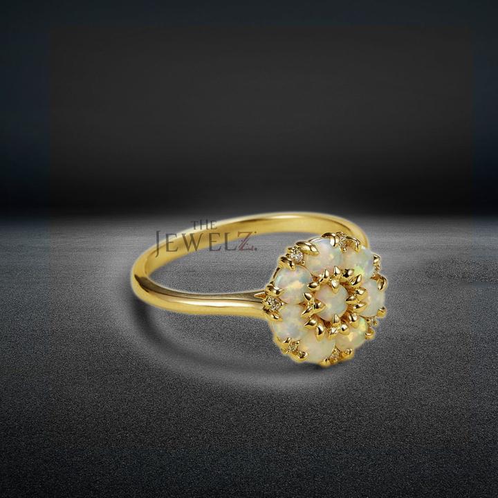 14K Gold Genuine Diamond And Opal Gemstone Dainty Engagement Ring Fine Jewelry
