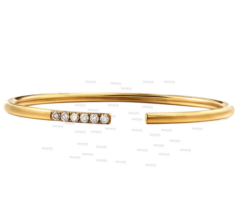 14K Gold 0.09 Ct. Genuine Diamond Cuff Bangle Bracelet Handmade Fine Jewelry