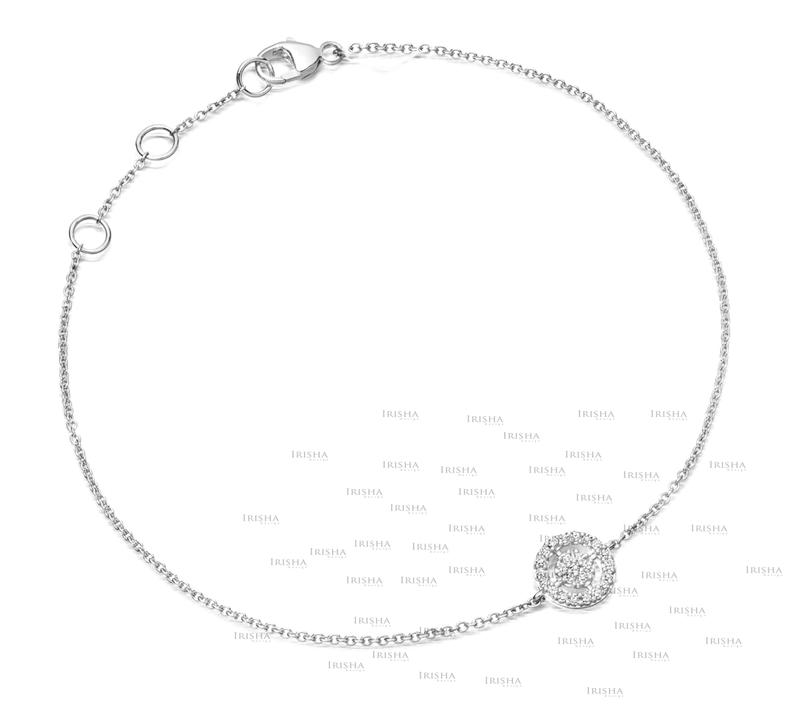 14K Gold 0.13 Ct. Genuine Diamond Concentric Circles Charm Chain Fine Bracelet