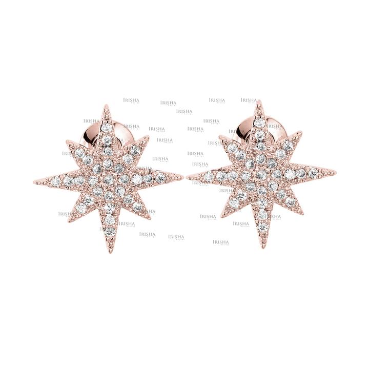 14K Gold 0.25 Ct. Genuine Diamond Starburst Earrings Christmas Fine Jewelry