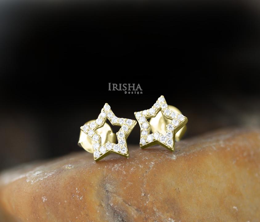 14K Gold 0.20 Ct. Genuine Diamond Star Shape Studs Earrings Celestial Jewelry