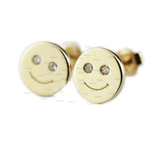 14K Gold 0.04 Ct. Genuine Diamond Happy Smiley Emoji Earrings Fine Jewelry
