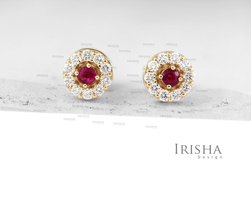 14K Gold Genuine Diamond And Ruby Gemstone Round Studs Earrings Fine Jewelry
