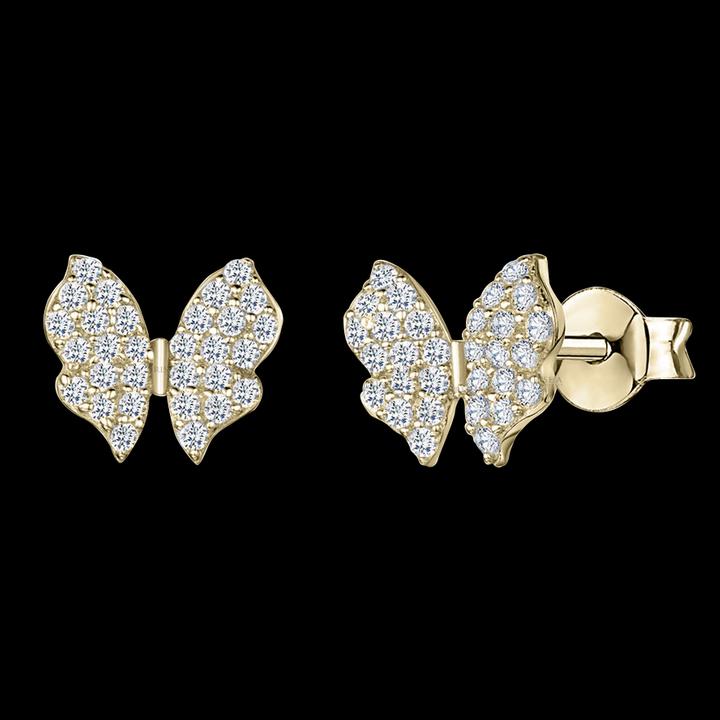 14K Gold 0.35 Ct. Genuine Diamond Minimalist Butterfly Stud Earring Fine Jewelry
