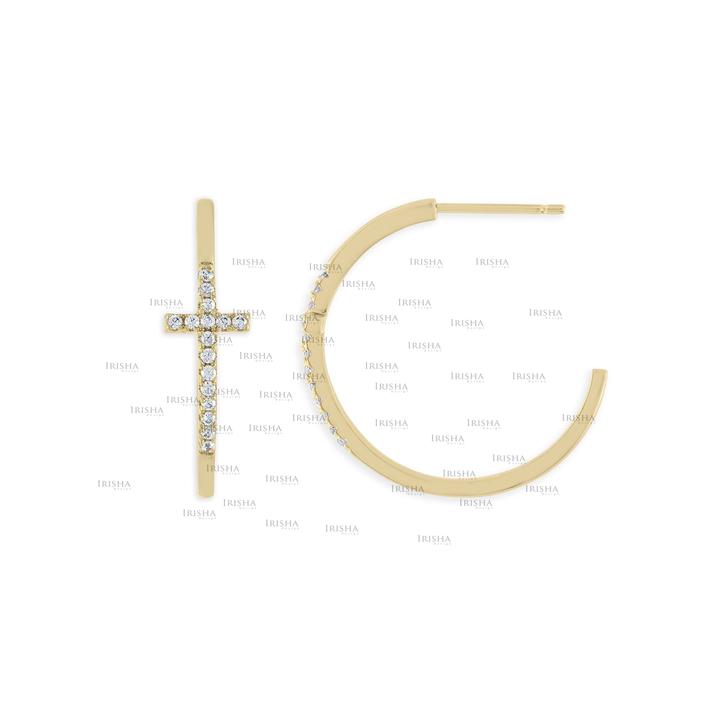 14K Gold 0.27 Ct. Genuine Diamond Cross Design Hoop Earrings Fine Jewelry