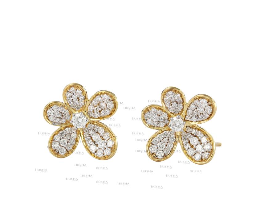 14K Gold 1.00 Ct. Genuine Diamond Flower Shape Wedding Earrings Fine Jewelry
