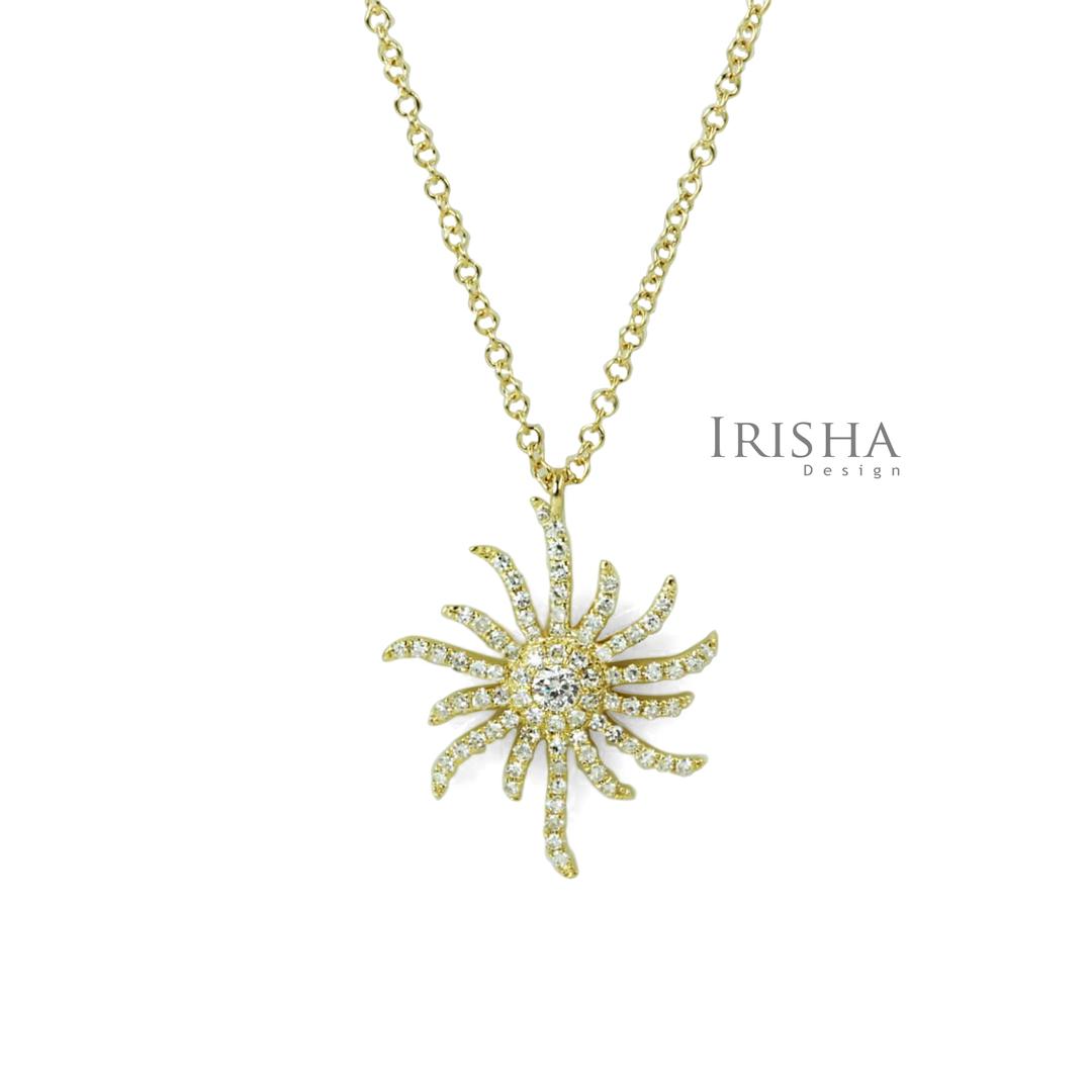 14K Gold 0.50 Ct. Genuine Diamond Sun Shape Pendant Necklace Celestial Jewelry