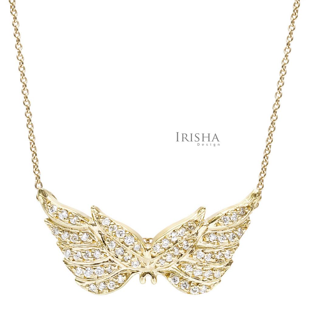 14K Gold 0.36 Ct. Genuine Diamond Angel Wing Pendant Necklace Fine Jewelry