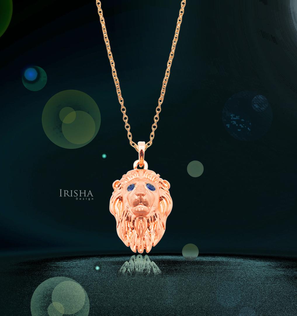 14K Gold 0.04 Ct. Genuine Blue Sapphire Lion Pendant Necklace Fine Jewelry