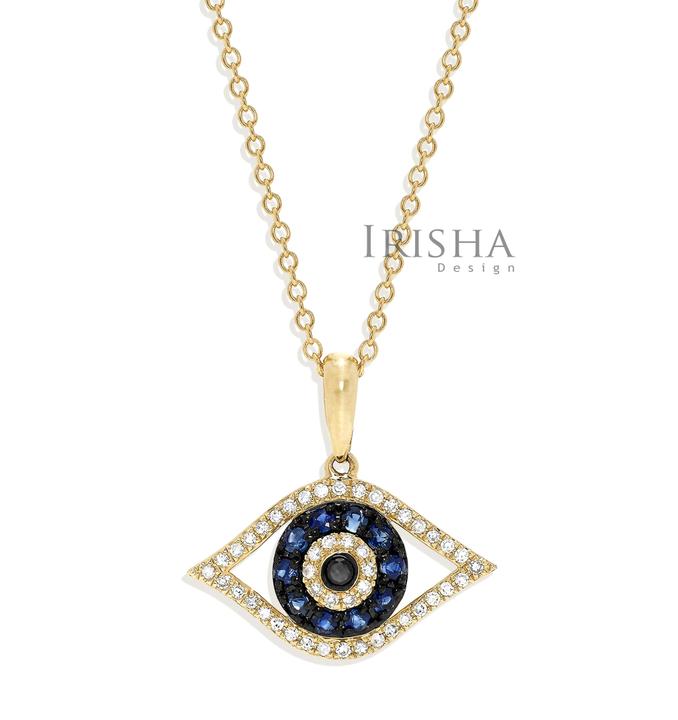 14K Gold Genuine White-Black Diamond And Blue Sapphire Evil Eye Charm Necklace