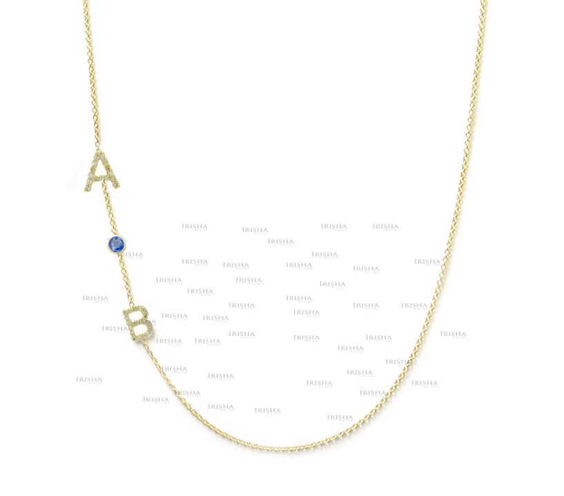 14K Gold Genuine Diamond Ruby/Emerald/Sapphire A-Z Alphabet Necklace (1 Piece)