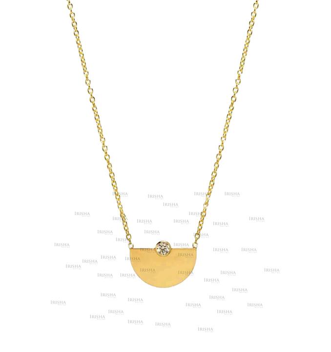 14K Gold 0.05 Ct. Genuine Diamond Small Horizon Pendant Necklace Jewelry