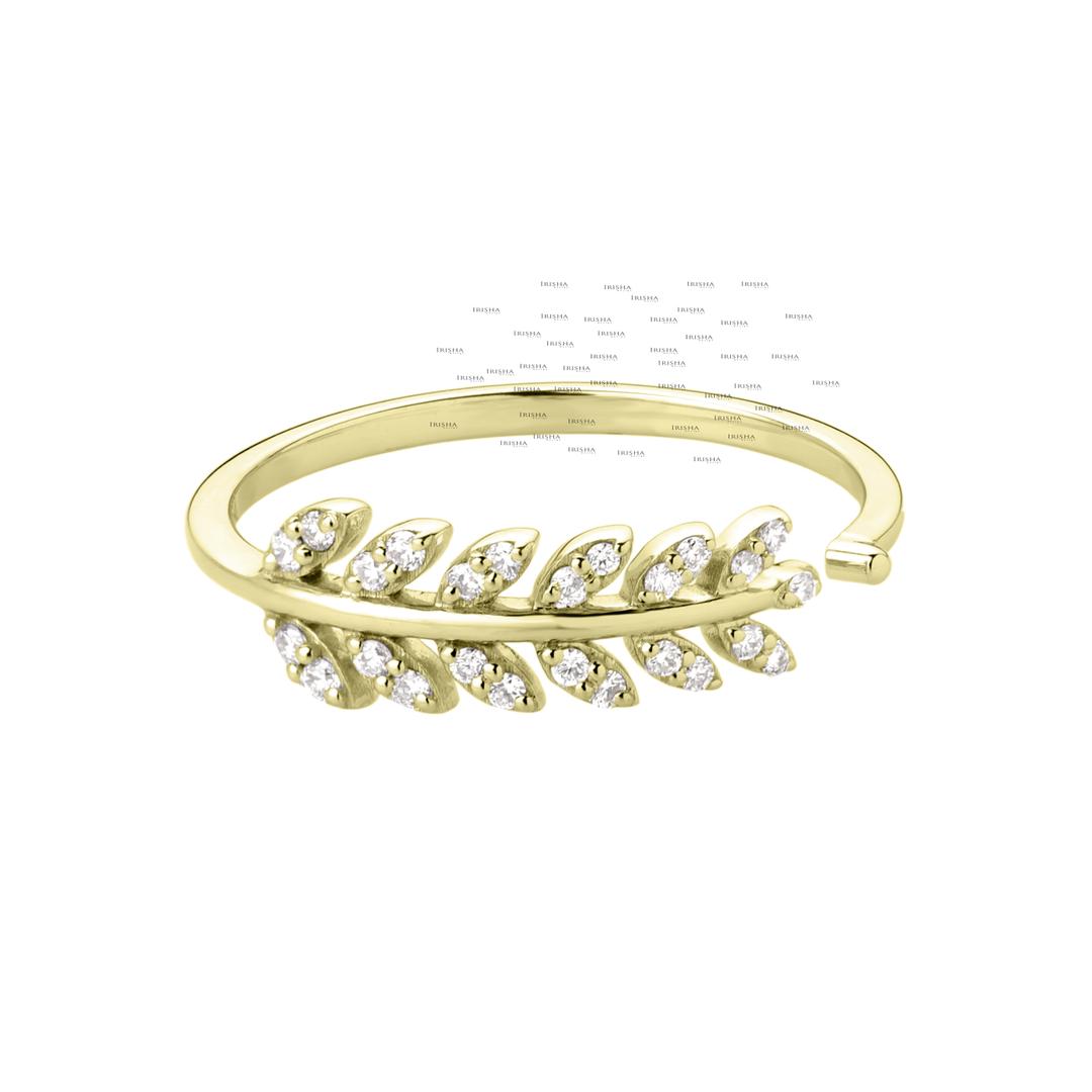 14K Gold 0.13 Ct. Genuine Diamond Leaf Design Open Cuff Ring Fine Jewelry