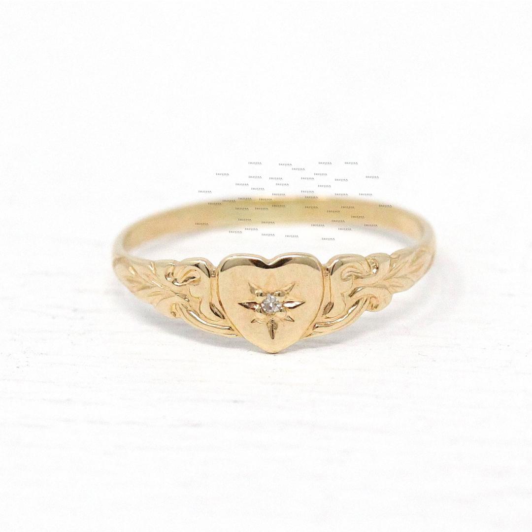 14K Gold 0.02 Ct. Genuine Diamond Love Heart Unique Band Ring Fine Jewelry