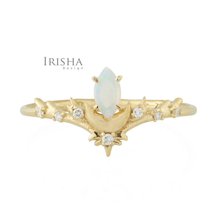 14K Gold Genuine Diamond And Opal October Birthstone Crescent Moon Fine Ring